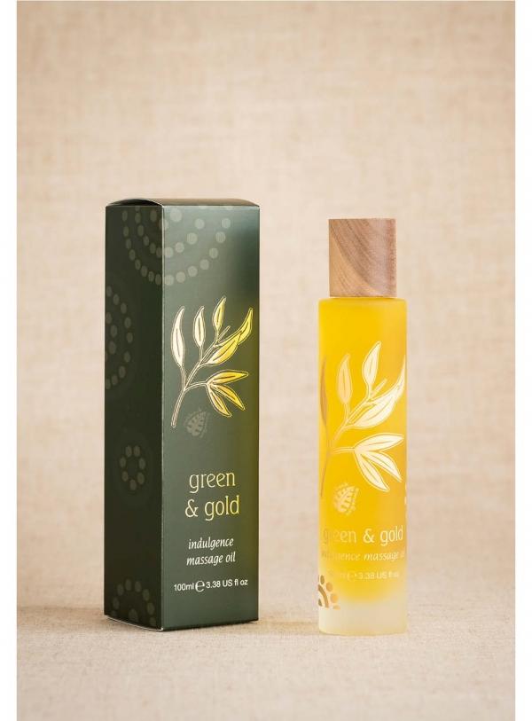 Green & Gold Massage Body Oil Indulgence