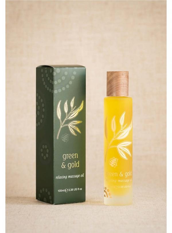 Green & Gold Massage Body Oil Relaxing