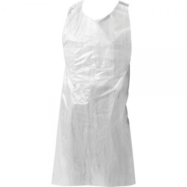 white disposable apron